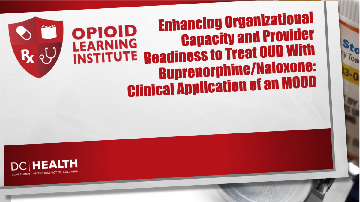 Enhancing Organizational Capacity and Provider Readiness to Treat OUD With Buprenorphine/Naloxone: Clinical Application of a MOUD